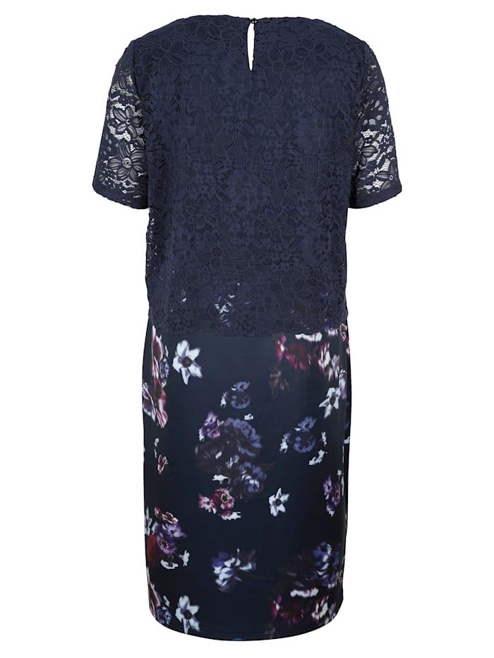 Šaty 2v1 s čipkovým vrchným dielom a kvetinovým vzorom na sukni