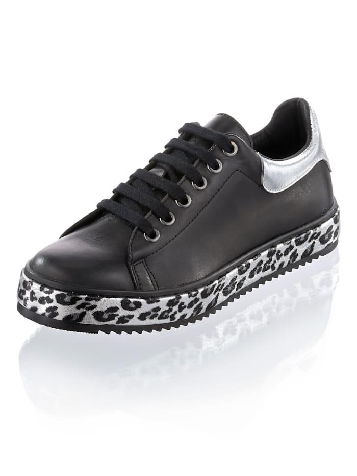 Alba Moda Sneaker mit auffälliger Sohle, Schwarz/Silberfarben