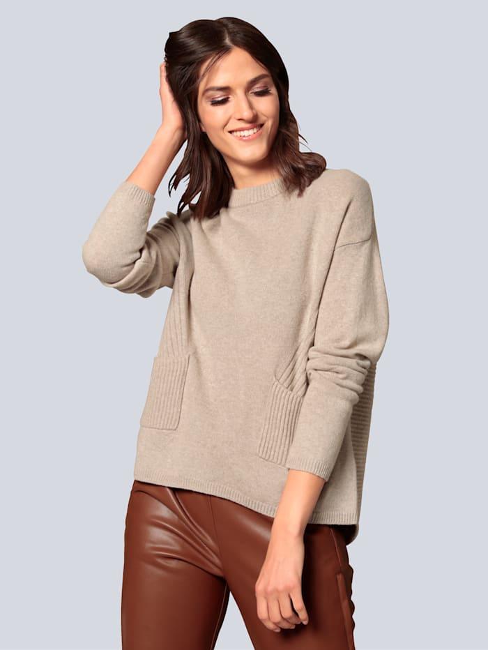 OUI Pullover mit aufgesetzten Taschen, Sand