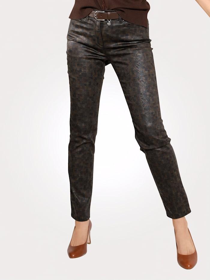 Toni Pantalon imprimé, Marron/Coloris bronze