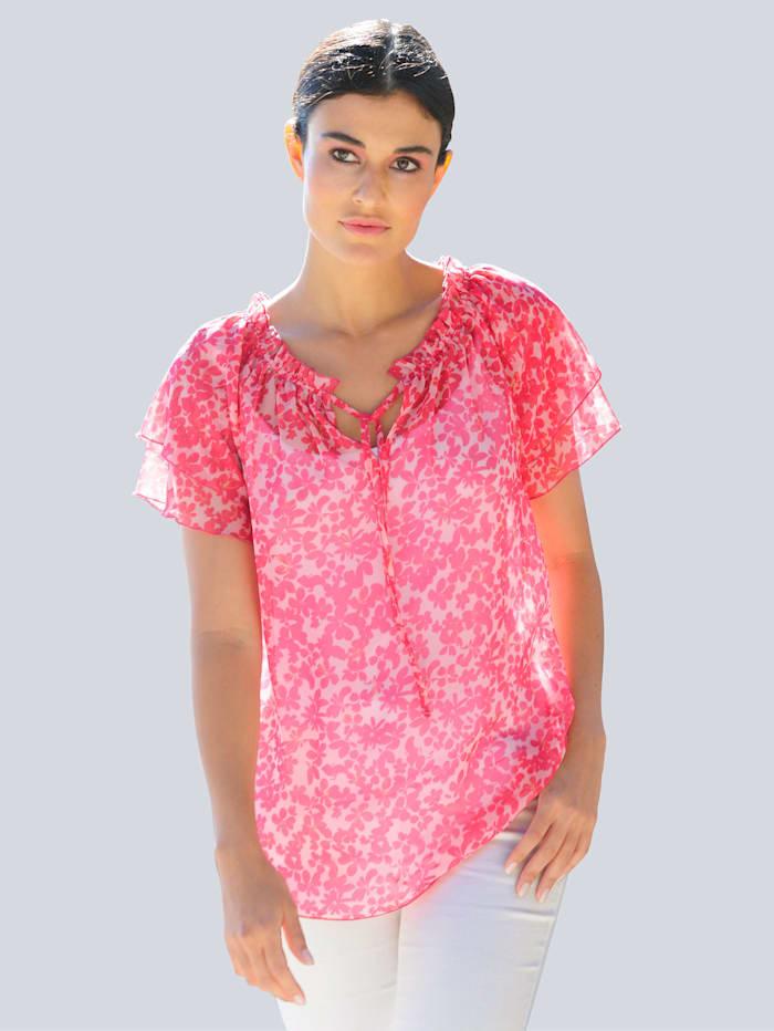 Alba Moda Blus med exklusivt mönster, Cerise/Rosa/Gul