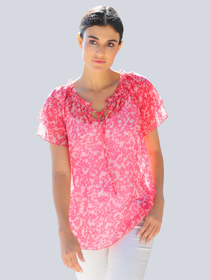 Alba Moda Bluse im exklusivem Dessin, Pink/Rosé/Gelb