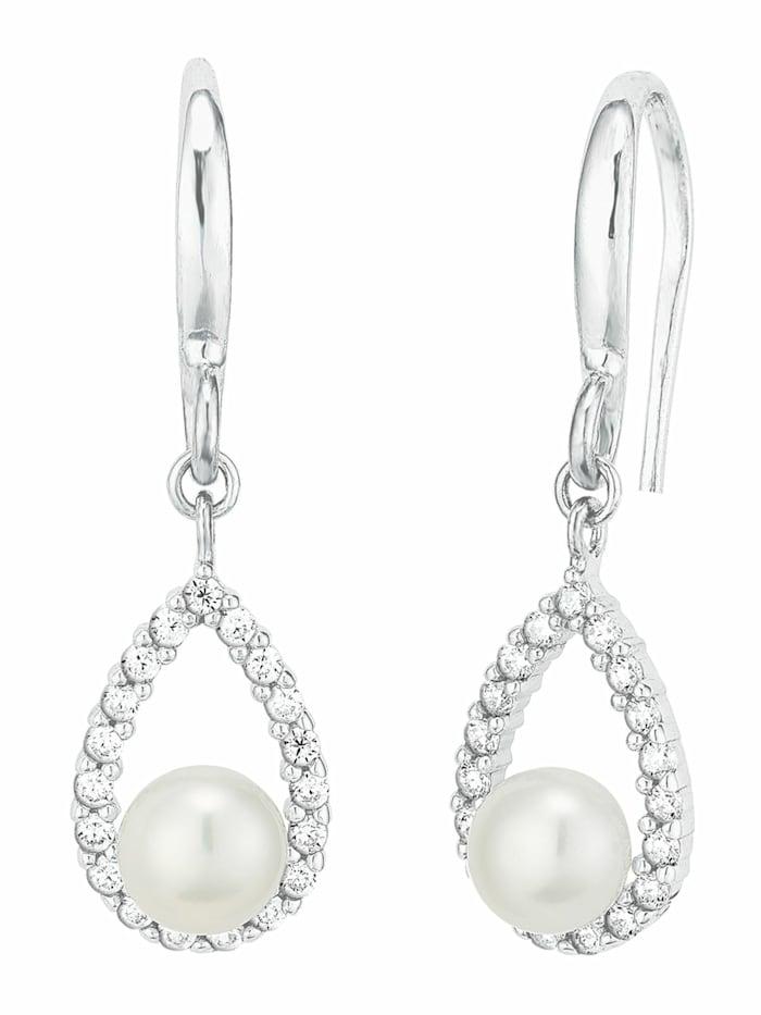 amor Ohrring für Damen, Sterling Silber 925, Zirkonia Süßwasserzuchtperle, Silber