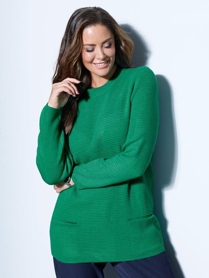 MIAMODA Pullover mit hohem Rundhalsausschnitt, Grün