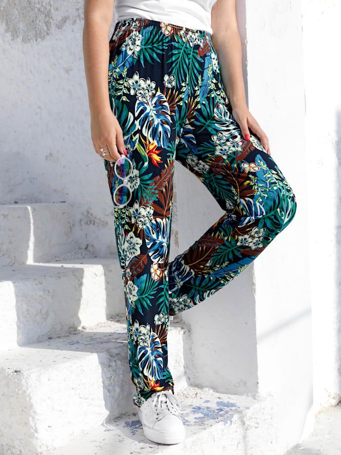 MIAMODA Pantalon à superbe imprimé, Multicolore
