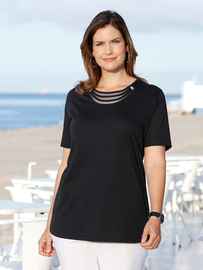 m. collection Shirt met luxueuze details langs de hals, Zwart
