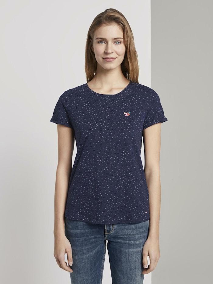 Tom Tailor Denim T-Shirt mit kleiner Stickerei, navy small dot