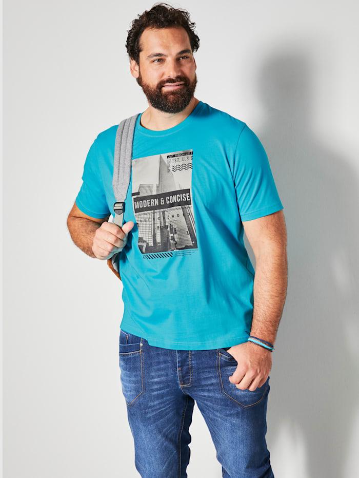 Men Plus T-shirt van zuiver katoen, Turquoise