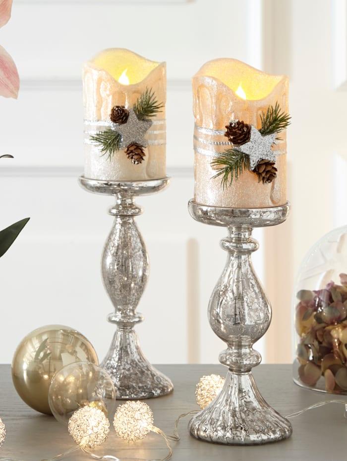 2er Set Kerzenständer, Silber