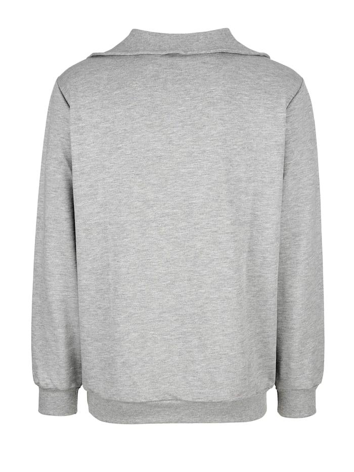 Sweatshirt med ribbstickad krage