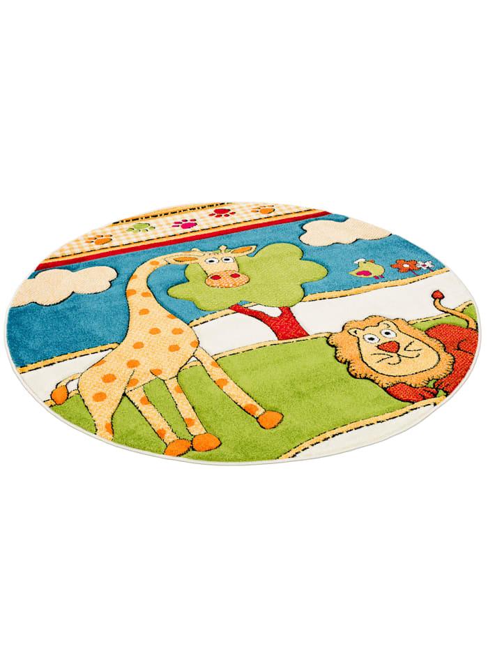 Pergamon Kinder Teppich Savona Kids Lustige Zoowelt Rund, Bunt