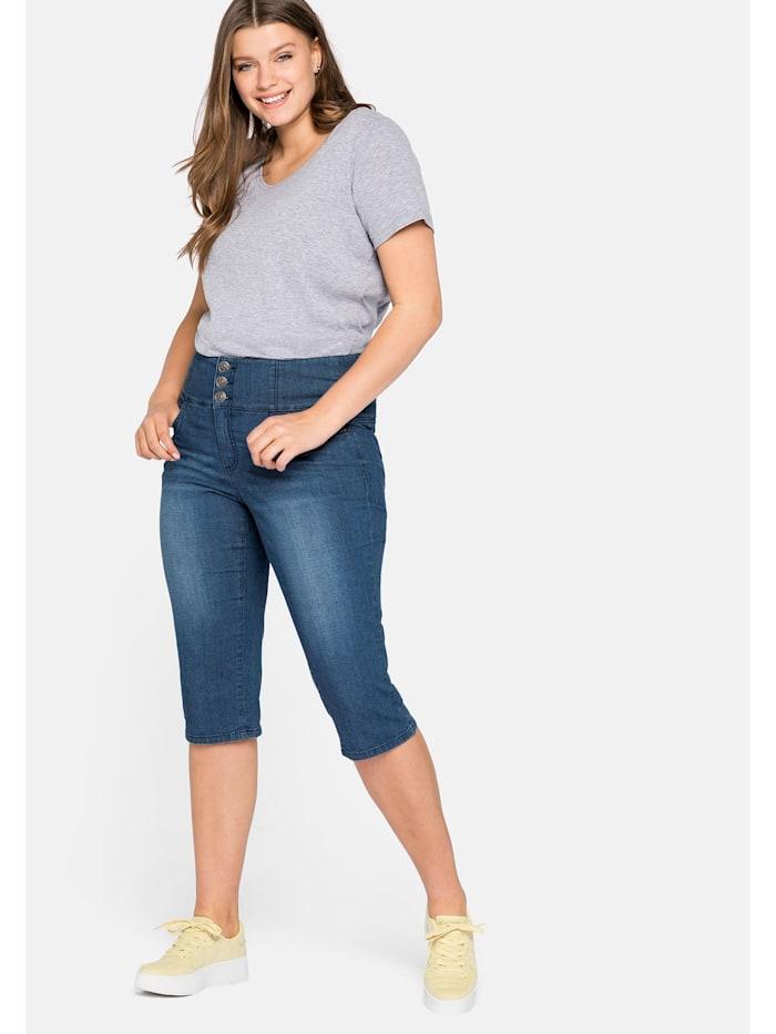 Sheego Jeans mit High-Waist Bund, blue Denim