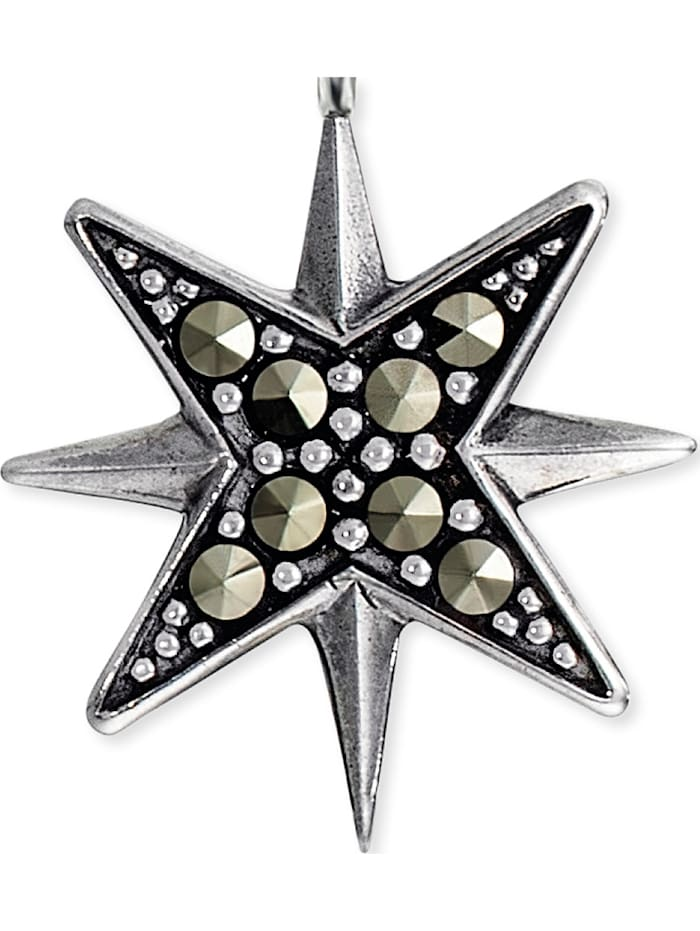 Engelsrufer Damen-Kette Stern 925er Silber rhodiniert 8 Markasit