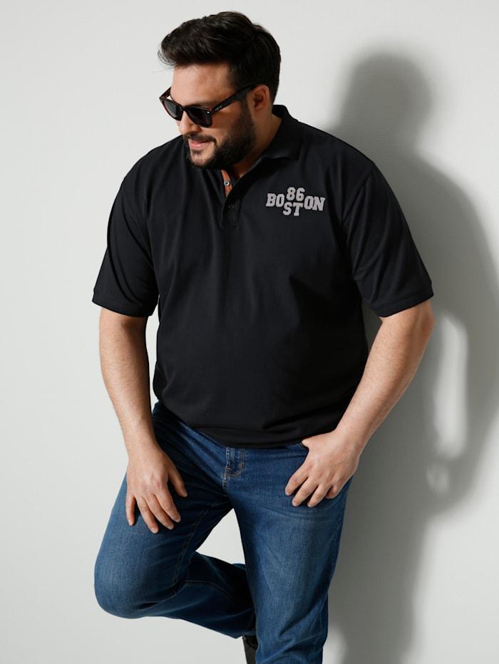 Men Plus Poloshirt Spezialschnitt, Schwarz