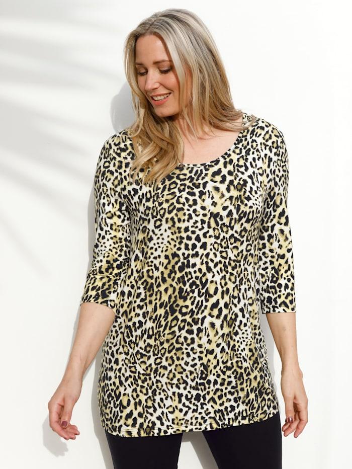 MIAMODA T-shirt d'aspect léopard tendance, Jaune/Noir/Blanc