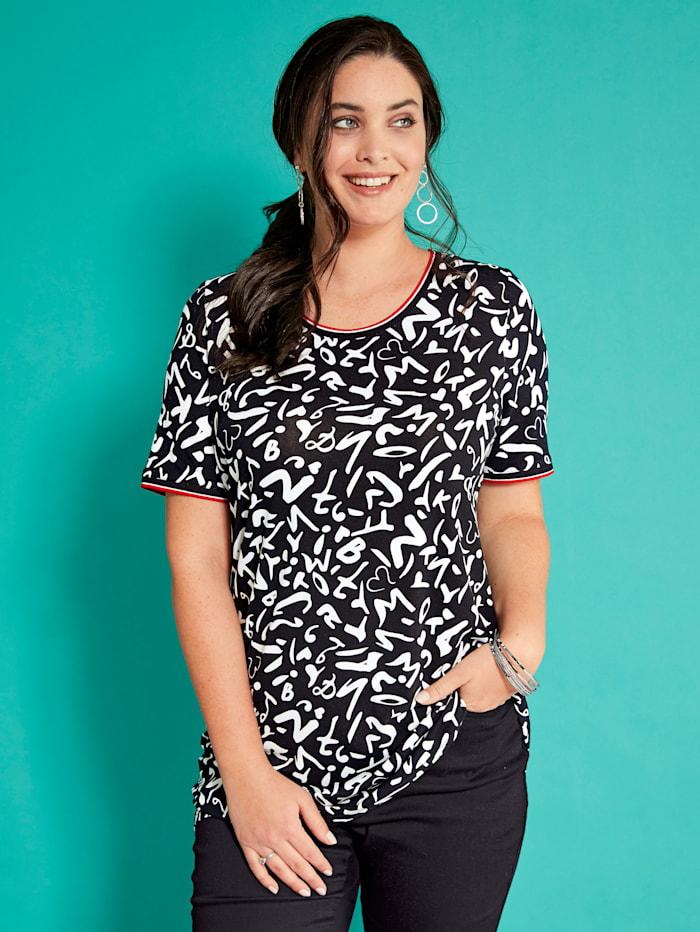 MIAMODA Shirt mit modischen Pipings am Ausschnitt und Ärmelsaum, Schwarz/Weiß