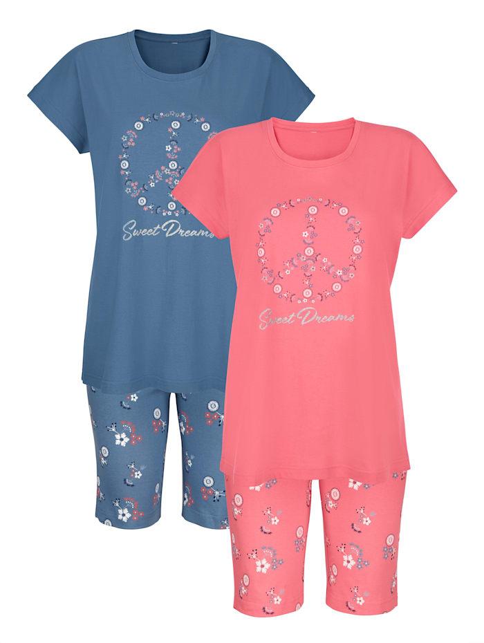Blue Moon Krátke pyžamo s lesklou potlačou, Modrá/Koralová