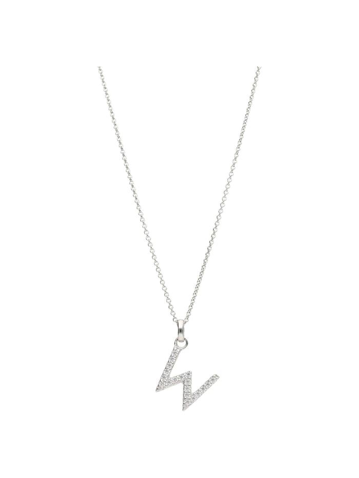 Smart Jewel Kette Buchstabe W mit Zirkonia Steine, Silber 925, Silber