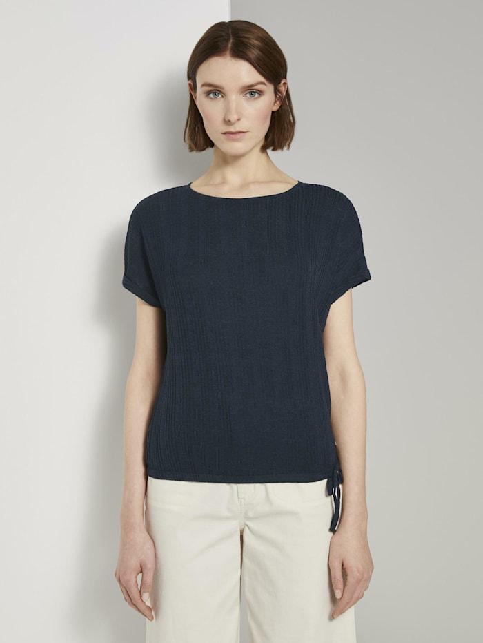 Tom Tailor Denim T-Shirt mit elastischem Bund, Real Navy Blue