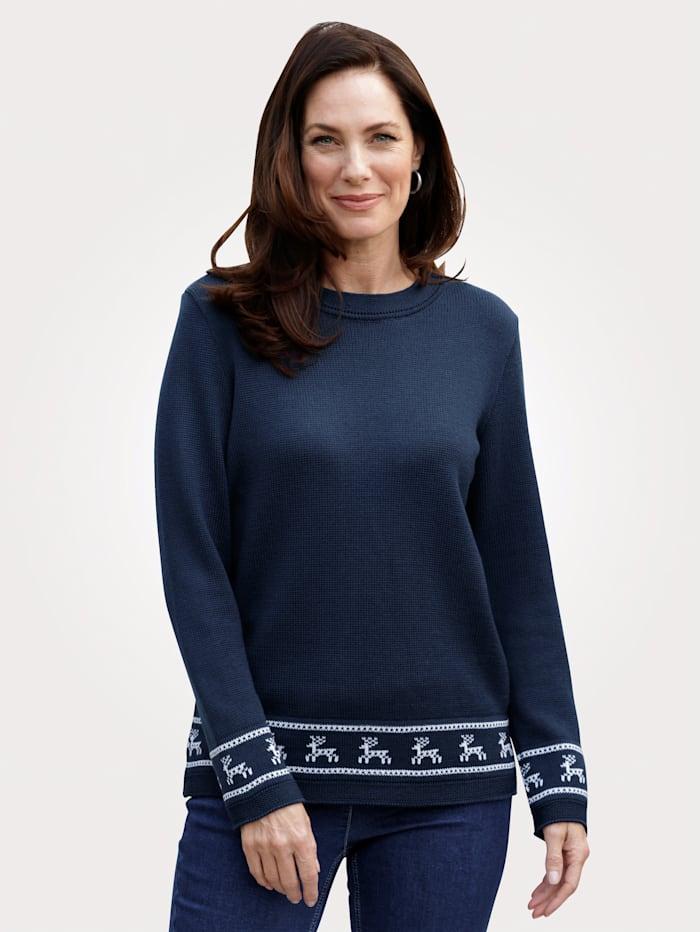MONA Pullover mit winterlichem Strickmuster, Marineblau/Weiß