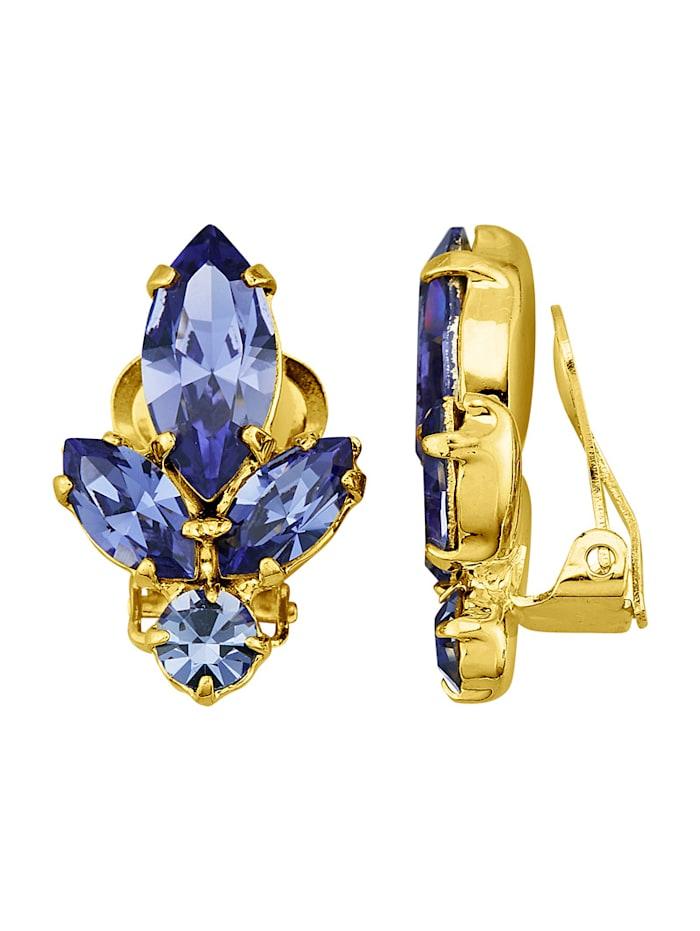 Golden Style Ohrclips mit 8 tansanitfarbenen Kristallen, Blau