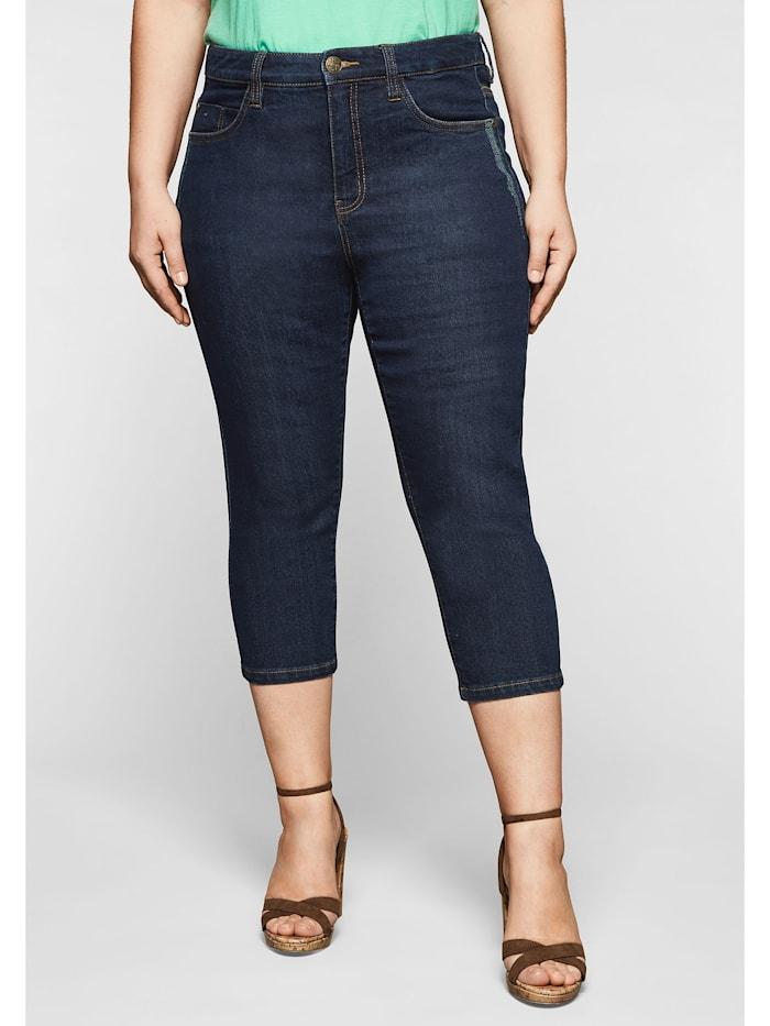 Sheego Capri-Jeans mit Catfaces und Kontrastnähten, blue black Denim