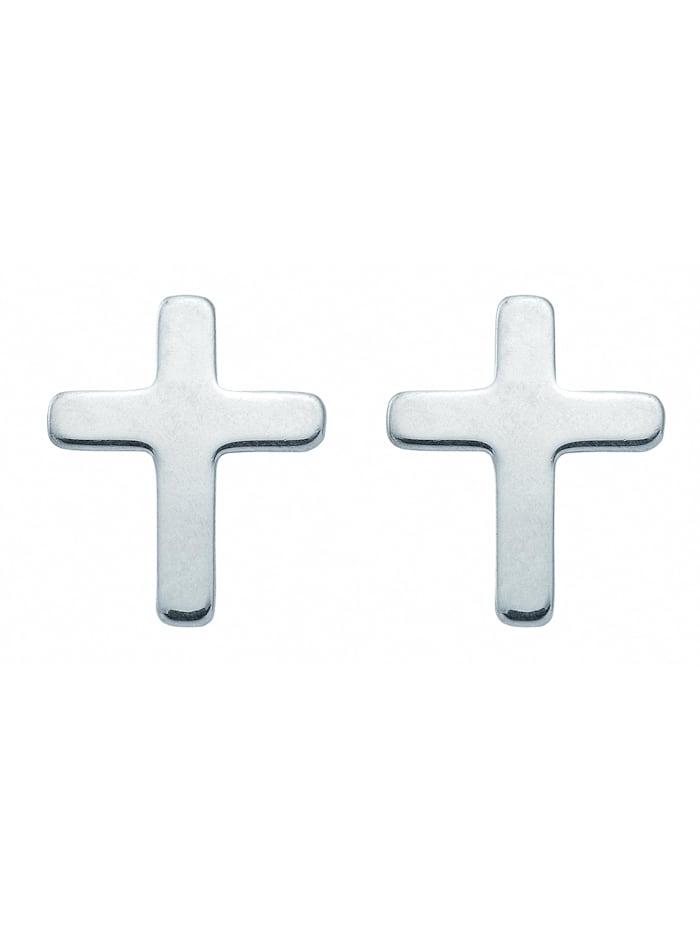 1001 Diamonds Damen & Herren Silberschmuck 925 Silber Ohrringe / Ohrstecker Kreuz, silber