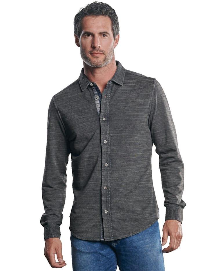 Engbers Poloshirt mit geflammter Optik, Granitgrau