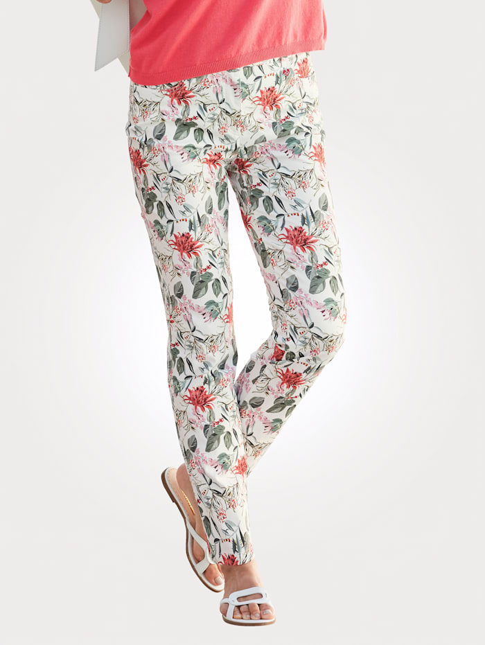 Relaxed by Toni Print trousers made from a cotton-rich fabric, Ecru/Coral/Lime Green
