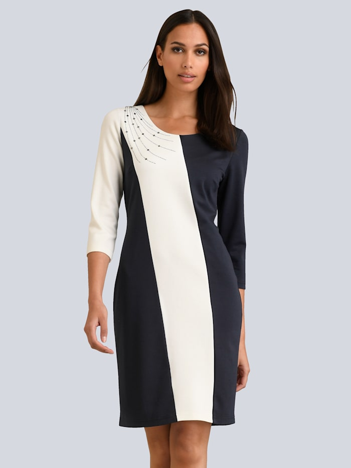 Alba Moda Kleid mit schönem Strass-Element an der Schulter, Marineblau/Off-white