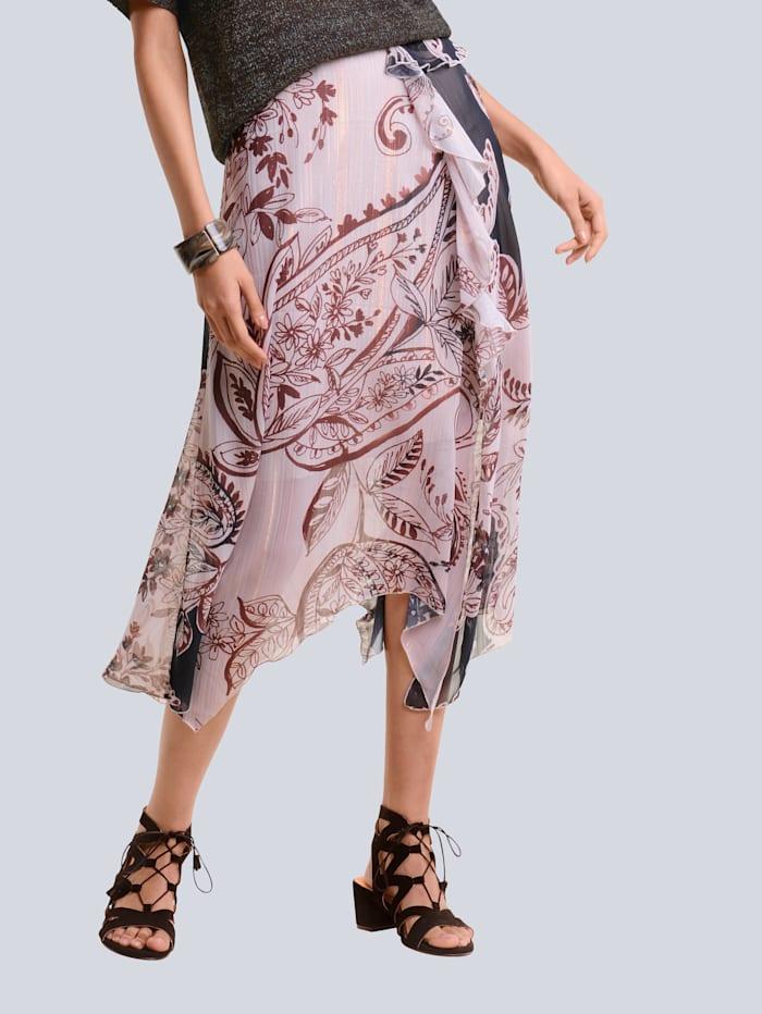 Alba Moda Kjol med exklusivt mönster, Brun/Hasselnötsbrun