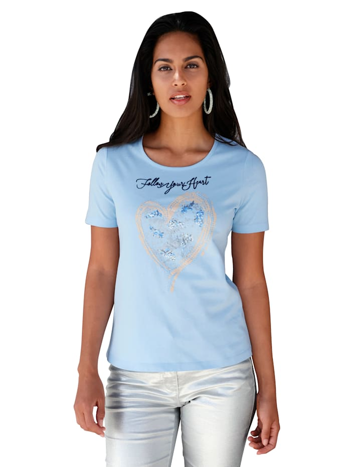 AMY VERMONT Shirt mit Stickerei, Hellblau