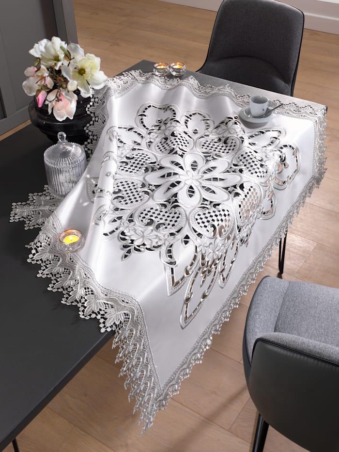 Webschatz Dukserie – Inga, vit/silverfärgad