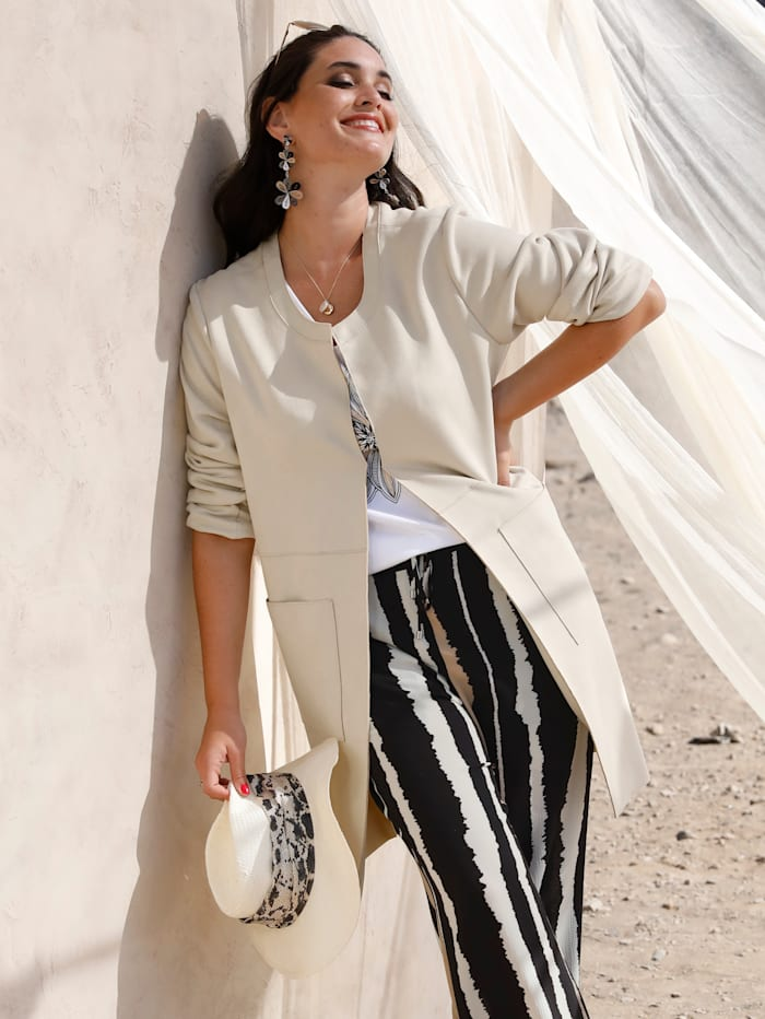 MIAMODA Longblazer mit femininem Ausschnitt, Beige