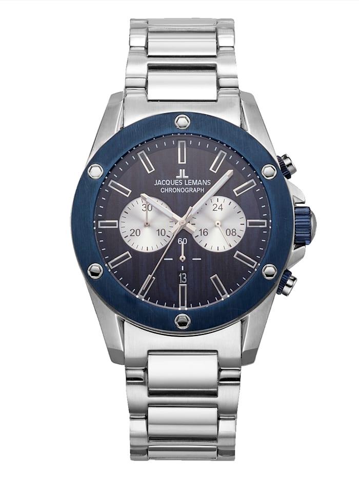 Jacques Lemans Herren-Uhr Chronograph blau/silber 1-1812F, Blau
