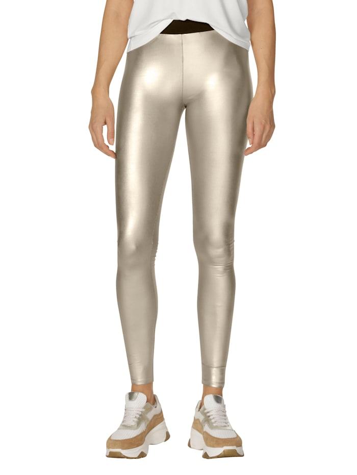 Leggings in Metallic-Optik
