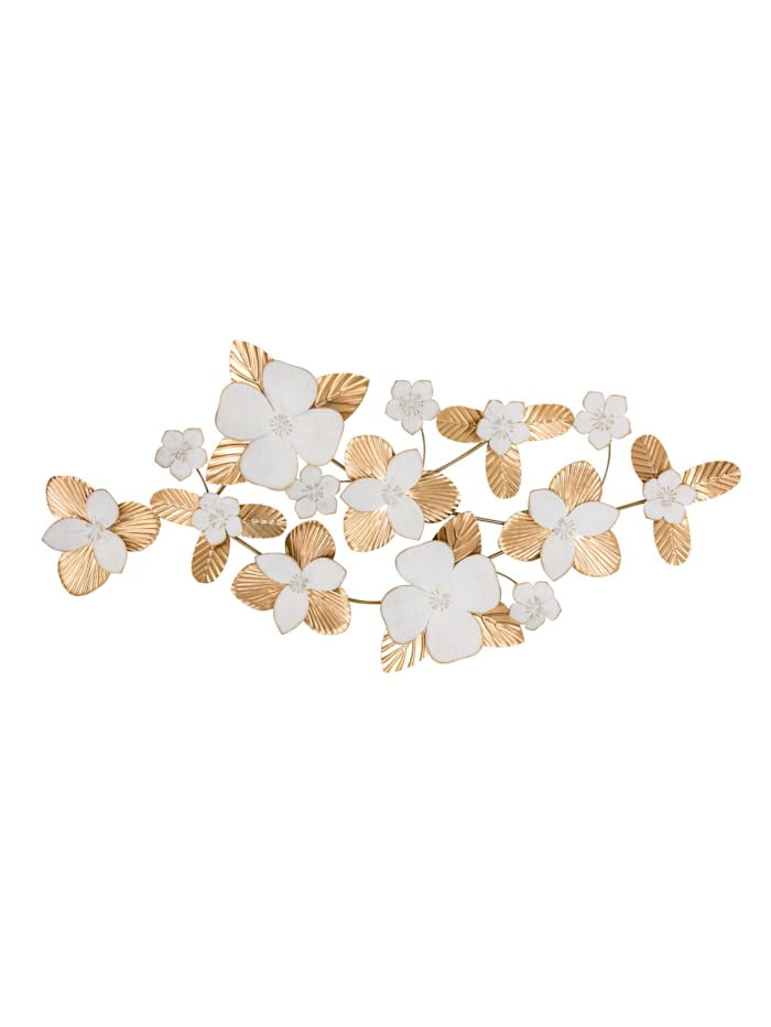 MARAVILLA Wand-Deko, Blüten, weiß/goldfarben