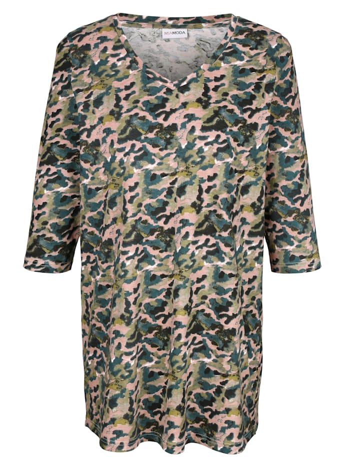 MIAMODA Longshirt mit farbenfrohem Alloverdruck, Grün/Rosé