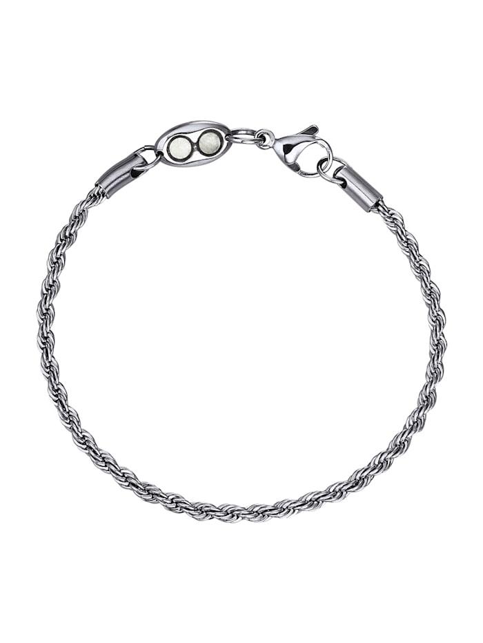 Magnetic Balance Bracelet maille cordon, inox, Coloris argent