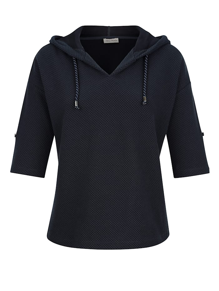 Alba Moda Shirt aus sportiver Strukturware, Marineblau
