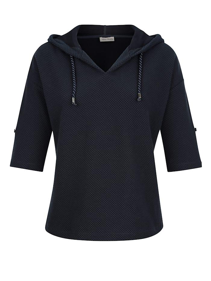 Alba Moda Shirt van sportief structuurmateriaal, Marine