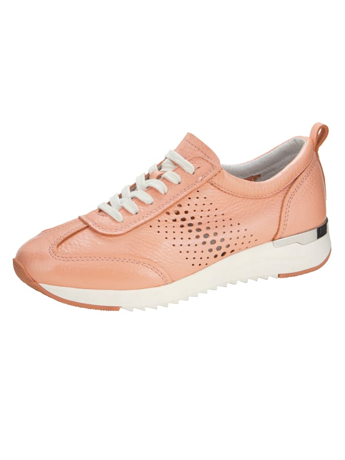 Caprice Sneakers en cuir nappa de daim ultra doux, Abricot