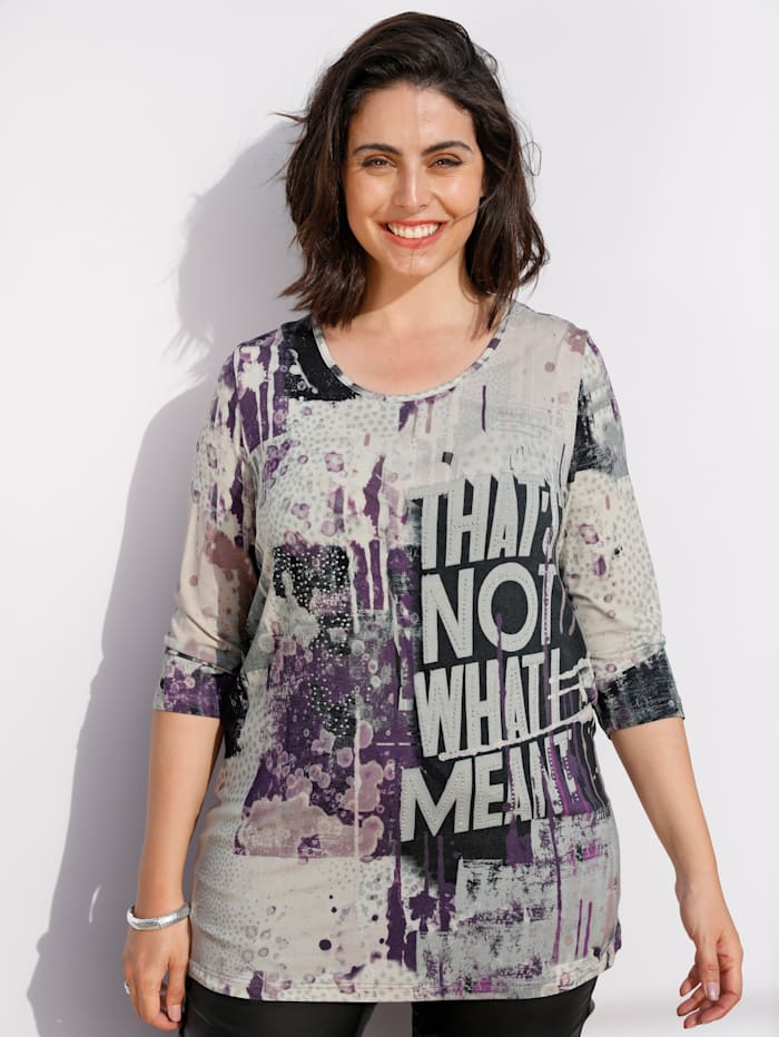 MIAMODA Shirt mit dekorativem Druck, Lila/Grau