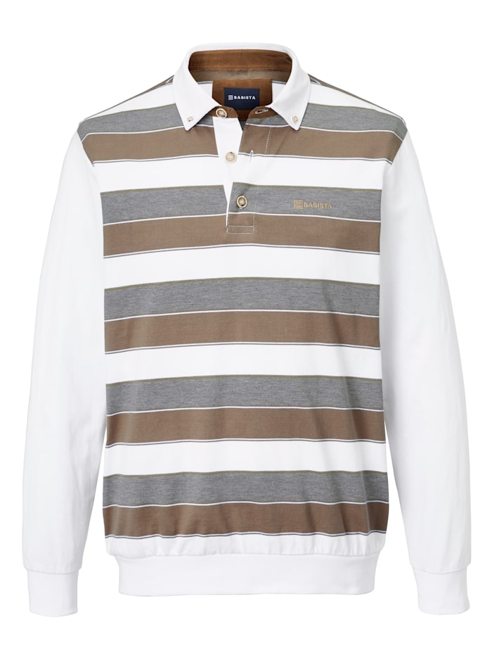 BABISTA Sweatshirt met beleg van imitatiesuède, Wit/Beige