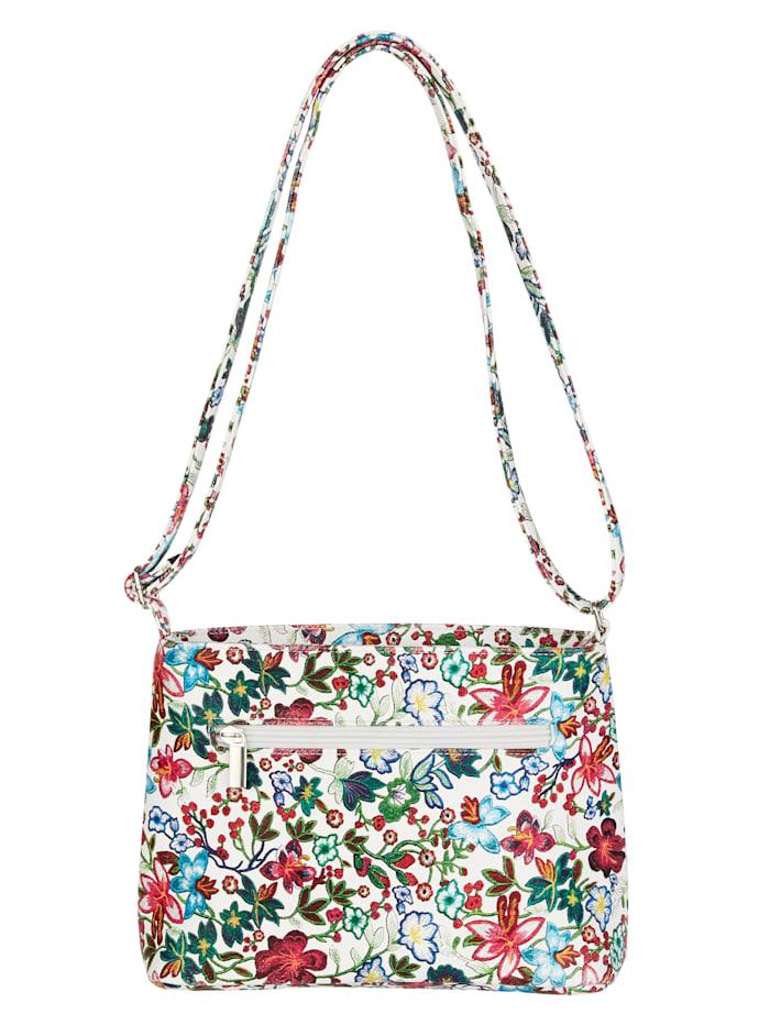 Aimée 2-piece shoulder bag with floral print 2-piece, White/Floral