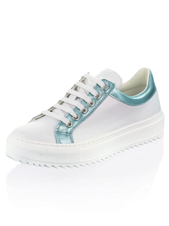 Alba Moda Sneaker mit metallischem Rand, Weiß/Türkis