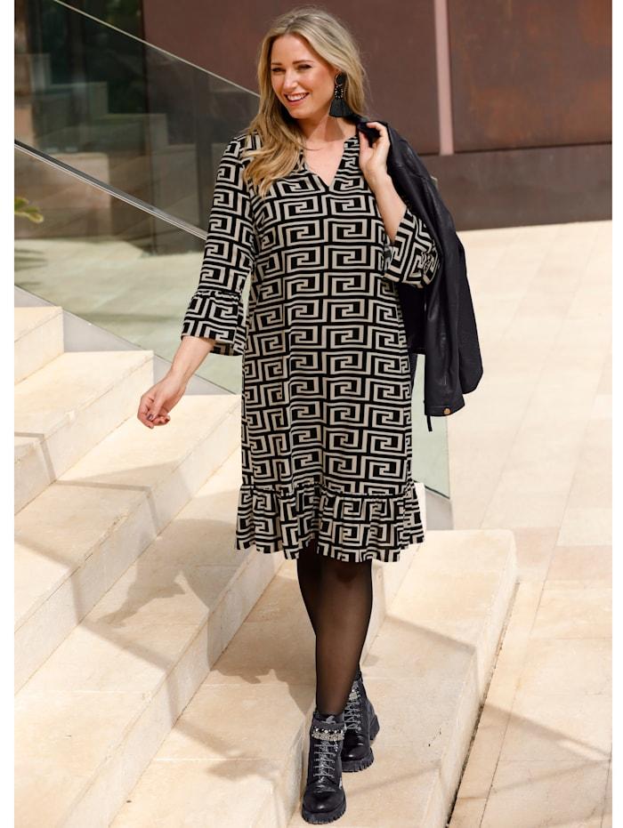 MIAMODA Kleid mit grafischem Alloverdruck, Schwarz/Beige