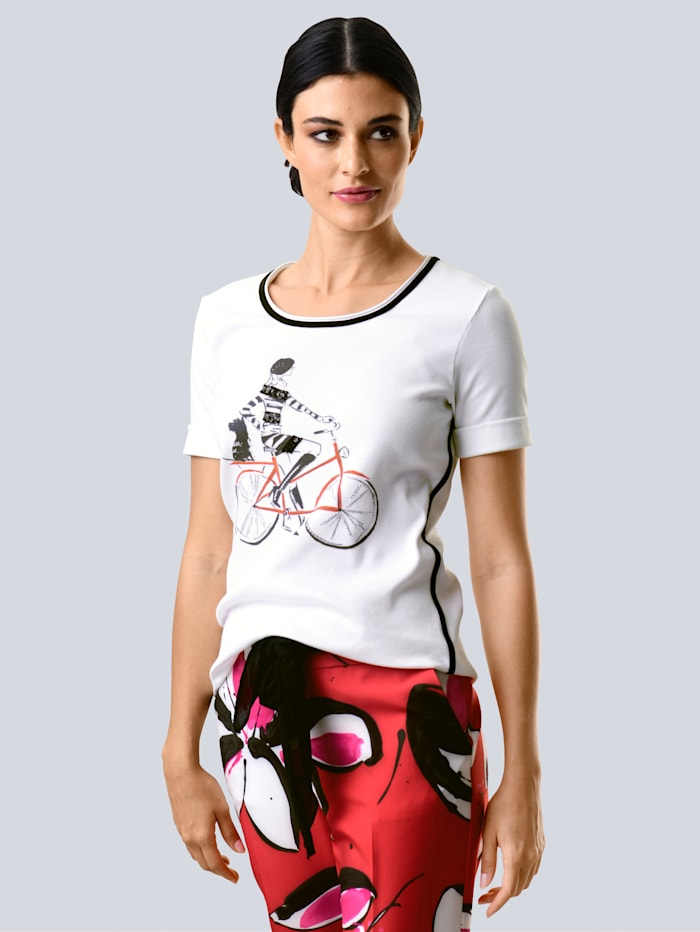 Alba Moda Shirt mit Motiv vorne, Weiß