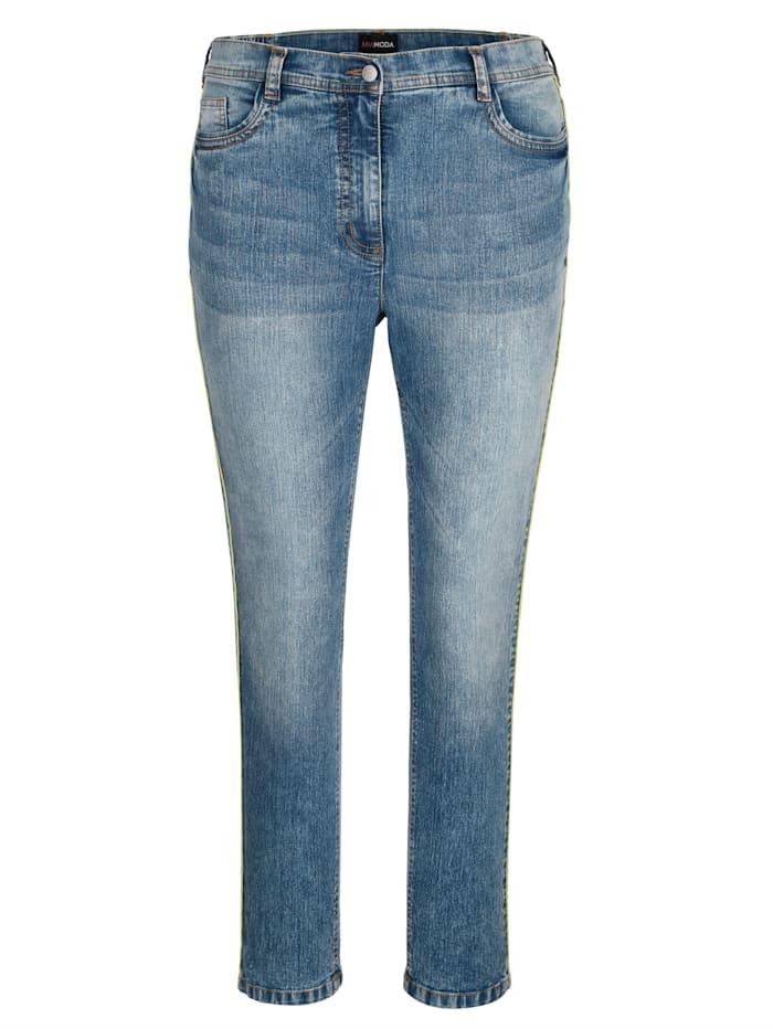 Jeans met neonkleurige paspel