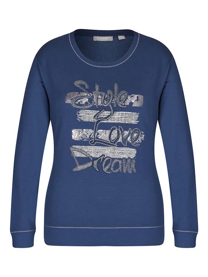 Rabe Shirt mit Kontrastnähten und Zierperlen, JEANSBLAU